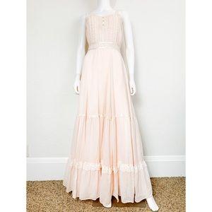 Gunne Sax Vintage 70s Prairie Peach Maxi Dress 9
